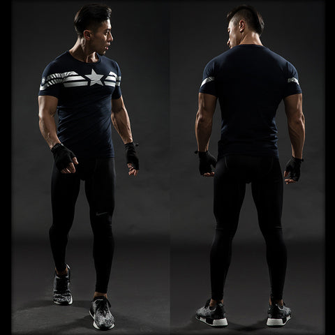 Captain America Workout Compression T Shirts for Men