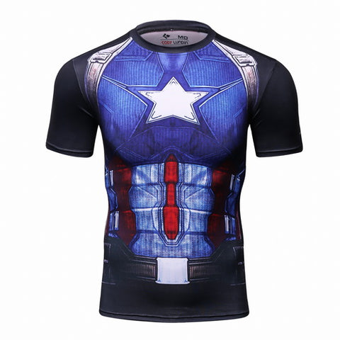 Captain America Workout Compression T Shirts for Men 1(2016: Civil War)