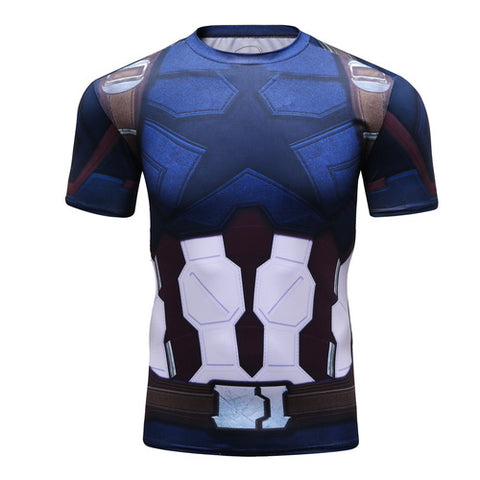 Captain America Workout Compression T Shirts for Men 6(2018 Avengers: Infinity War)