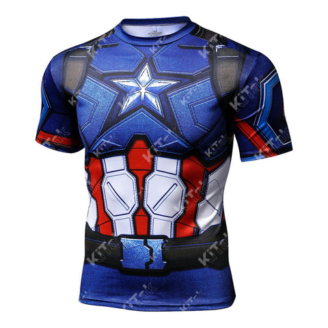 Captain America Workout Compression T Shirts for Men(2016: Civil War)