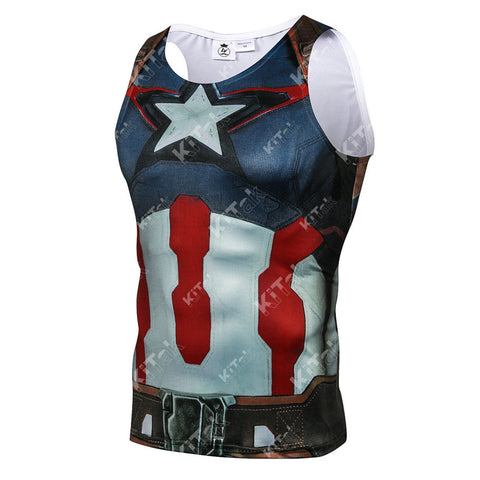 Captain America Workout Compression Tank Tops (2015: AGE OF ULTRON)