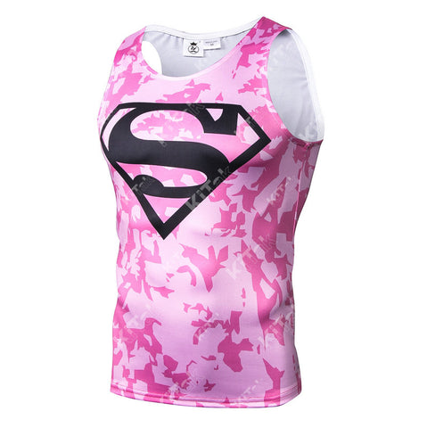 Fashion Superman Cosplay Training Compression Tank Tops for Men Fitness(Pink Camouflage)