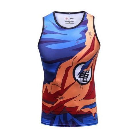 Battle Damaged Son Goku Cosplay Training Compression Tank Tops for Men Fitness - Cosplay Fitness | KiTak