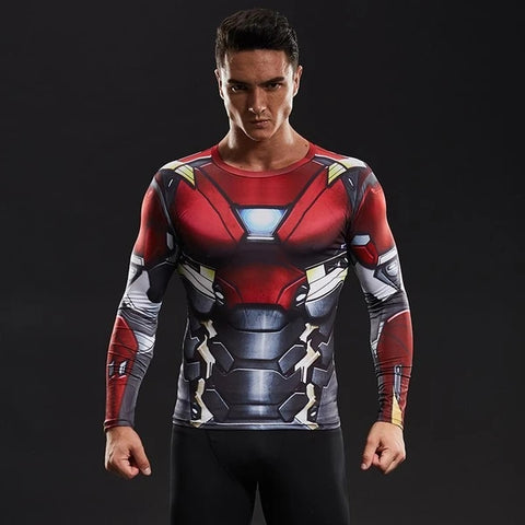 Hero Training Iron Man Costume Workout Compression Long Sleeves for Men (mk47)