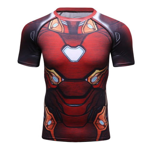Hero Training Iron Man Costume Workout Compression T-Shirts for Men  01(BLEEDING EDGE from 2018 Avengers: Infinity War)