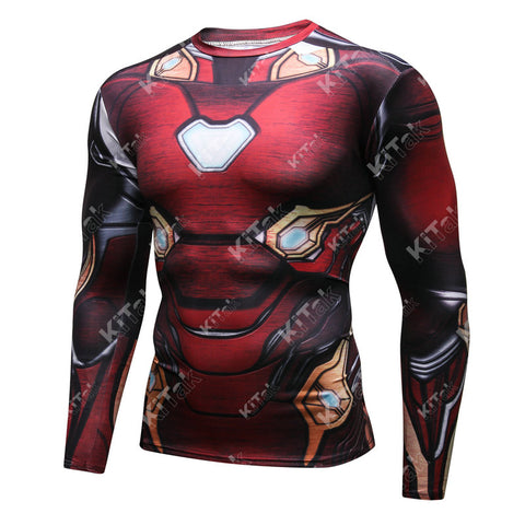 Iron Man Workout Compression Long Sleeves for Men(BLEEDING EDGE from 2018 Avengers: Infinity War)