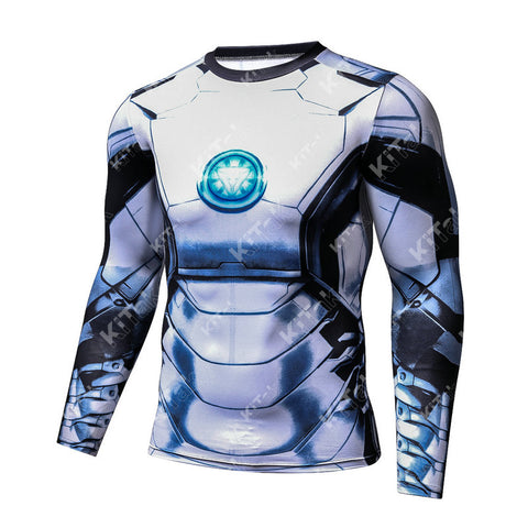 Hero Training Iron Man Costume Workout Compression Long Sleeves for Men (White)