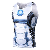 Iron Man Workout Compression Tank Tops (White)