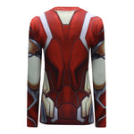 Hero Training Iron Man Costume Workout Compression Long Sleeves for Women