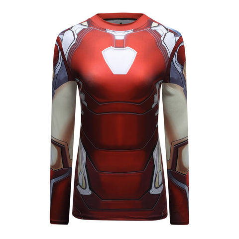 Iron Man Cosplay Training Compression Long Sleeves for Women Fitness