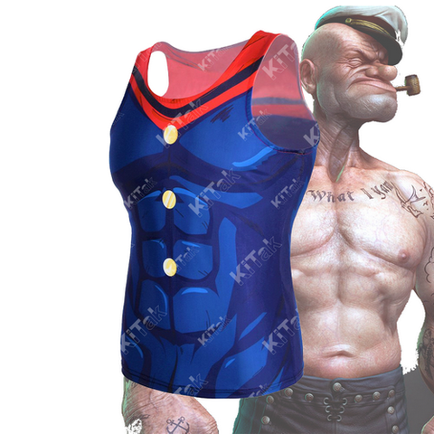 Anime Training Popeye Costume Workout Compression Tank Tops for Unisex (2019)