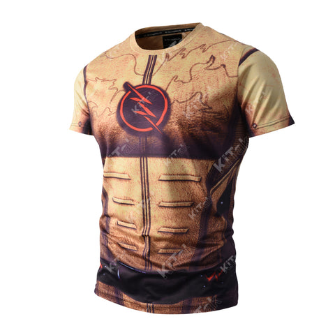 Reverse-Flash Cosplay Training Compression T-Shirts for Men Fitness