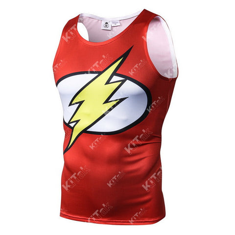 The Flash Cosplay Training Compression Tank Tops for Men Fitness(1991: Wally West Flash Costume)