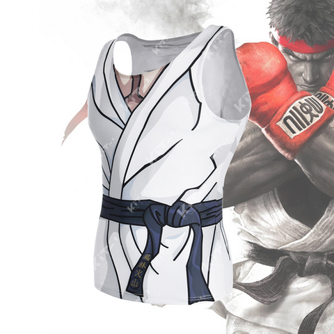 Anime Training Ryu Costume Workout Compression Tank Tops for Unisex (2019)