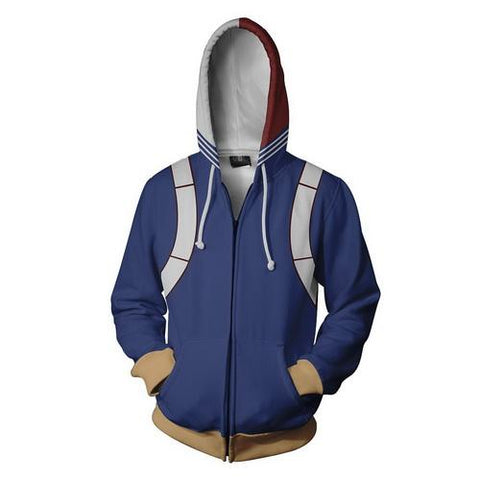 Shoto Todoroki Training Warm Up Full Zip Hoodies 1- Unisex