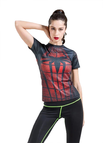 Spider-Man Workout Compression T Shirts for Women(Black-Red)