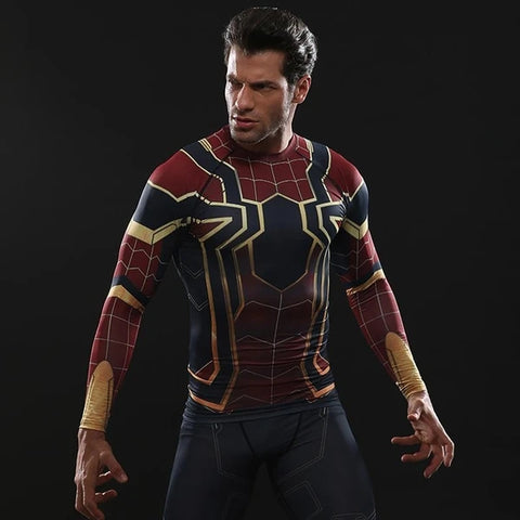 Spider-Man Cosplay Training Compression Long Sleeves for Men Fitness(2018 Avengers: Infinity War)