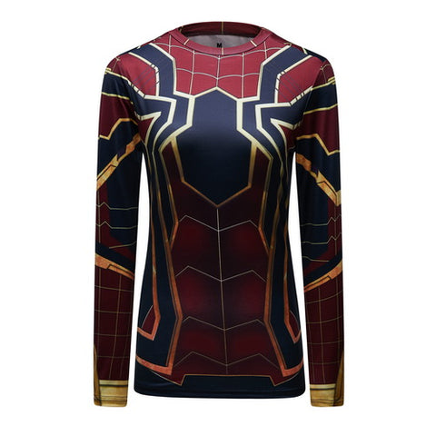 Spider-Man Cosplay Training Compression Long Sleeves for Women Fitness(2018 Avengers Infinity War)