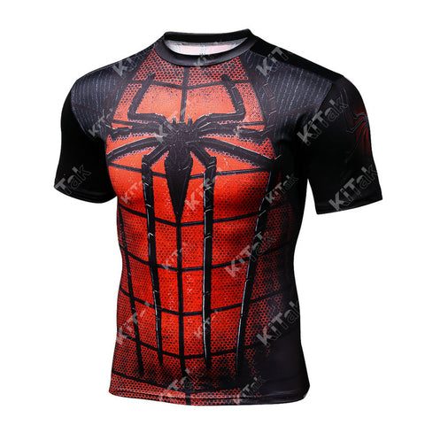 Spider-Man Cosplay Training Compression T-Shirts for Men Fitness 2(Black-Red)