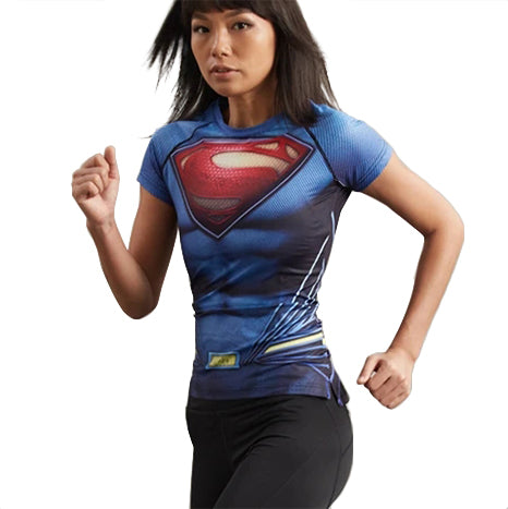 Superman Cosplay Training Compression T-Shirts for Women Fitness(2016 Batman v Superman Dawn of Justice)