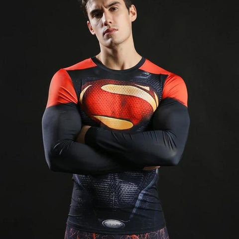 Superman Cosplay Training Compression Long Sleeves for Men Fitness 2 - Cosplay Fitness | KiTak