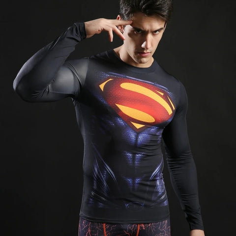 Superman Cosplay Training Compression Long Sleeves for Men Fitness 4