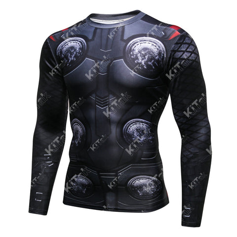 Thor Cosplay Training Compression Long Sleeves for Men Fitness