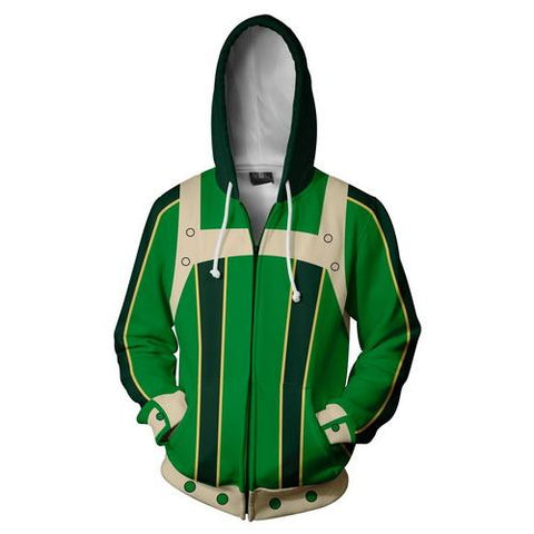 Tsuyu Asui Training Warm Up Full Zip Hoodies - Unisex Fitness - Cosplay Fitness | KiTak