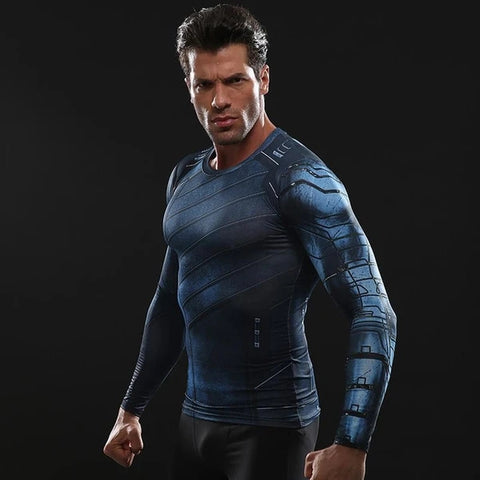 Winter Soldier Cosplay Training Compression Long Sleeves for Men Fitness 2