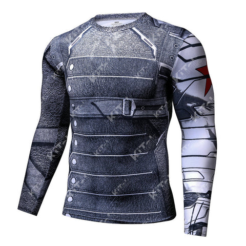 Winter Soldier Cosplay Training Compression Long Sleeves for Men Fitness 4