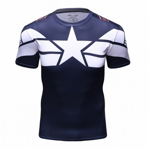 Captain America Workout Compresson T Shirts for Men 9