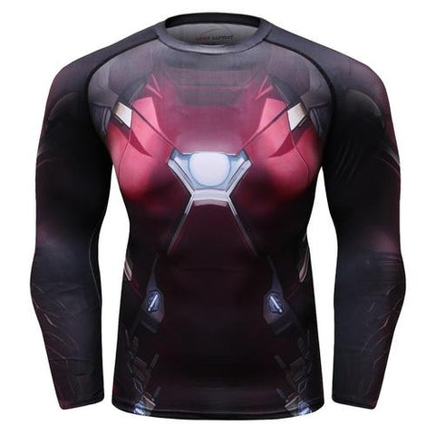 Iron Man Cosplay Training Compression Long Sleeves for Men Fitness 02 - Cosplay Fitness | KiTak