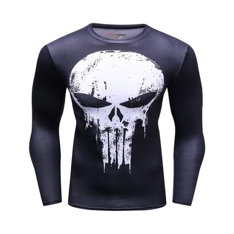 Hero Training The Punisher Costume Workout Compression Long Sleeves for Men  1