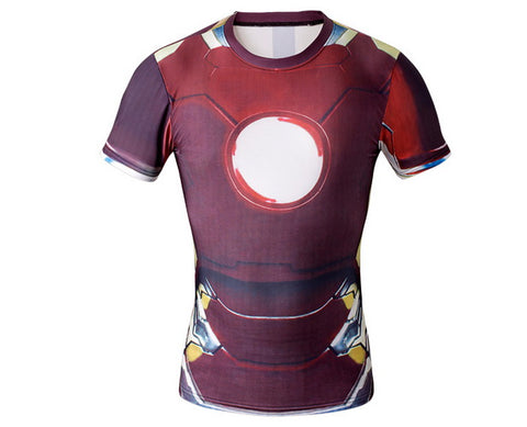 Hero Training Iron Man Costume Workout Compresson T-Shirts for Men  6