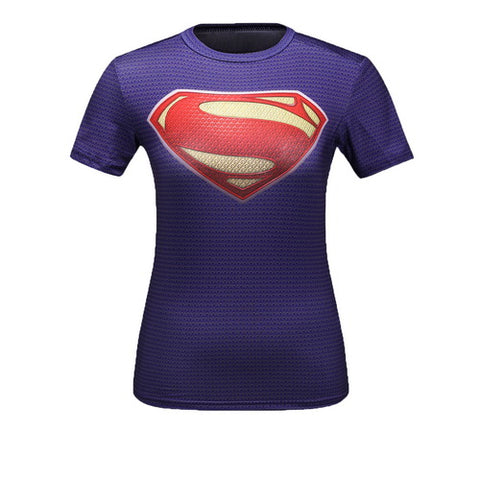 Supergirl Workout Compression T Shirts for Women(Purple)