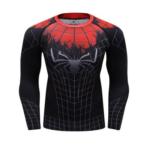 Spider-Man Cosplay Training Compression Long Sleeves for Men Fitness 02 - Cosplay Fitness | KiTak