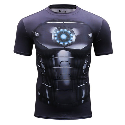 Hero Training Iron Man Costume Workout Compresson T-Shirts for Men  4