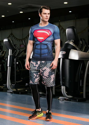 Superman Cosplay Training Compression T-Shirts for Men Fitness 5