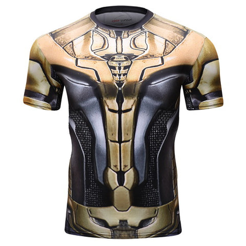 Thanos Full Gears Cosplay Training Compression T-Shirts for Men Fitness 2(2019 Endgame)
