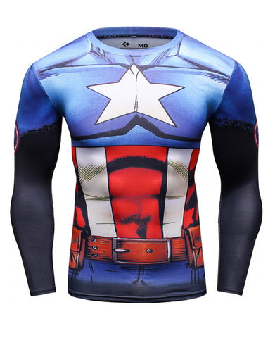 Captain America Workout Compression Long Sleeves for Men 3