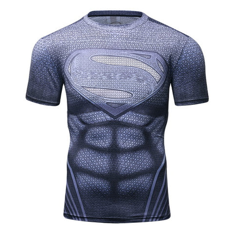 Superman Cosplay Training Compression T-Shirts for Men Fitness 3