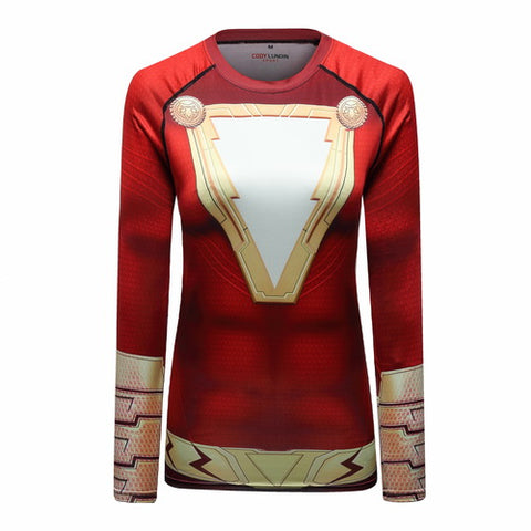 Shazam Cosplay Training Compression Long Sleeves for Women Fitness