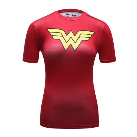 Wonder Woman Red Cosplay Training Compression T-Shirts for Women Fitness