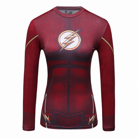 Hero Training The Flash Costume Workout Compression Long Sleeves for Women