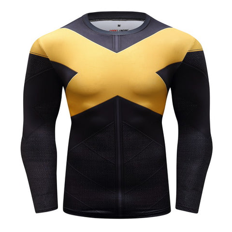 X-Men Dark Phoenix Cosplay Training Compression Long Sleeves for Men Fitness
