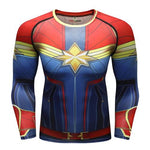 Captain Marvel Cosplay Training Compression Long Sleeves for Men Fitness 01 - Cosplay Fitness | KiTak