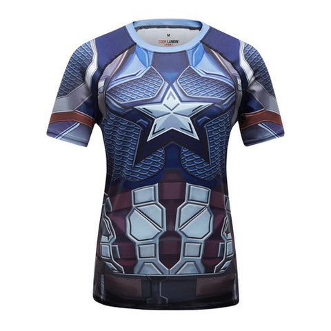 Captain America Cosplay Training Compression T-Shirts for Women Fitness(2019 Avengers Endgame)