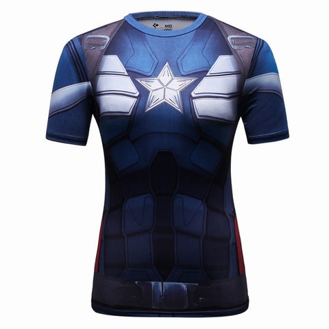 Captain America Workout Compression T Shirts for Women(2014 The Winter Soldier)