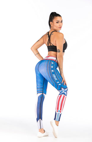 Captain America Cosplay Training Compression Leggings for Women Fitness 3