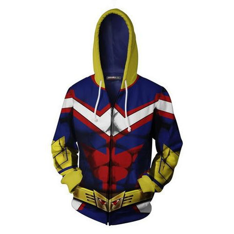 All Might Training Warm Up Full Zip Hoodies 1 - Unisex